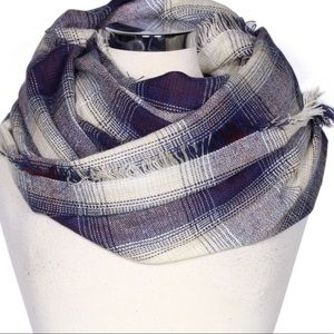 Accessories - Ivory & Navy Blue Checkered Plaid Infinity Scarf